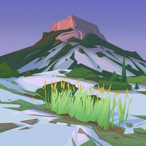 Превью обои гора, пейзаж, арт, вектор