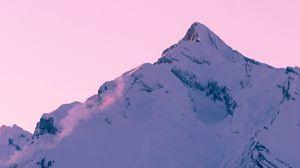 Превью обои гора, пик, снег, зима, закат, небо, розовый