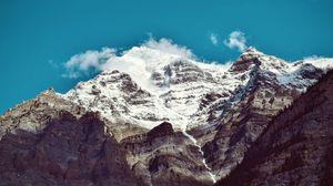 Превью обои гора, пик, снег, вершина
