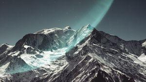 Превью обои гора, пик, заснеженный, свет, звездное небо