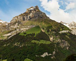 Превью обои гора, вершина, подножье, пейзаж, природа