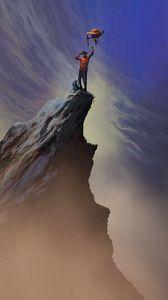Превью обои гора, вершина, силуэт, победа, арт