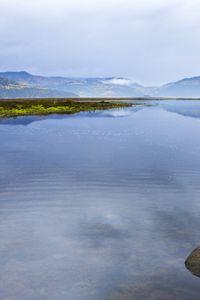 Превью обои горизонт, горы, озеро, облака, отражение, пейзаж