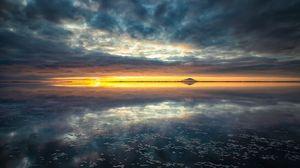 Превью обои горизонт, море, закат, облака
