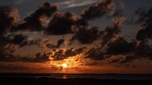 Превью обои горизонт, закат, облака, сумерки, сан педро, белиз