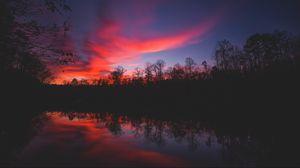 Превью обои горизонт, закат, река, отражение, деревья, небо