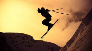 Превью обои горные лыжи, прыжок, силуэт, экстрим, снег