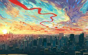 Превью обои город, арт, небо, здания