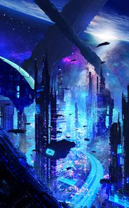 Превью обои город, футуризм, sci-fi, будущее, фантастика
