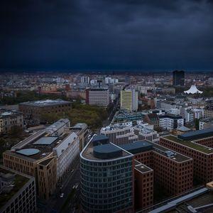 Превью обои город, городской пейзаж, здания, вид сверху, архитектура