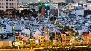 Превью обои город, городской пейзаж, здания, вид сверху, сумерки