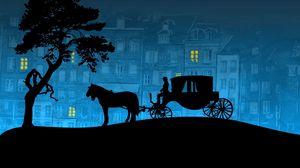 Превью обои город, карета, лошадь, дерево