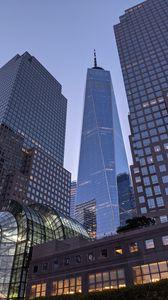 Превью обои город, небоскребы, здания, архитектура, вид снизу, нью-йорк