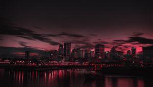 Превью обои город, ночь, панорама