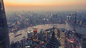 Превью обои город, панорама, смог, мегаполис, здания, река