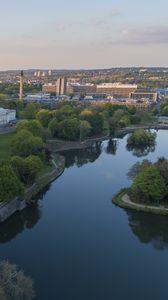 Превью обои город, река, здания, вид сверху, обзор