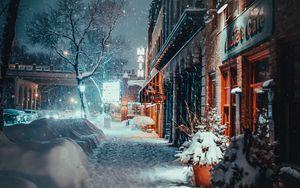 Превью обои город, вечер, снегопад, зима, улица, здания