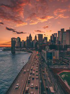 Превью обои город, вид сверху, дорога, здания, побережье