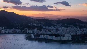 Превью обои город, вид сверху, облака, рио-де-жанейро, бразилия