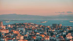 Превью обои город, вид сверху, побережье, здания, стамбул, турция