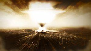 Превью обои город, взрыв, бомба, свет, небо