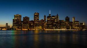 Превью обои город, здания, архитектура, побережье, манхэттен, нью-йорк