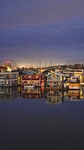 Превью обои город, здания, архитектура, подсветка, вода, отражение