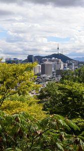Превью обои город, здания, архитектура, деревья, городской пейзаж, вид сверху