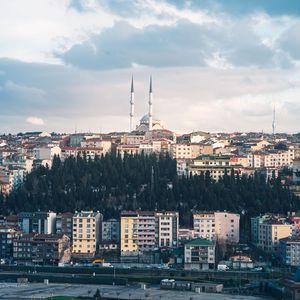 Превью обои город, здания, архитектура, башни, городской пейзаж, вид сверху