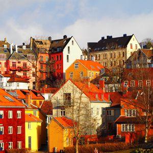 Превью обои город, здания, архитектура, деревья, осень, яркий