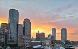 Превью обои город, здания, архитектура, вид сверху, закат