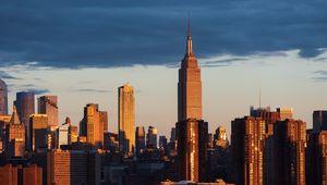 Превью обои город, здания, архитектура, закат, вид сверху