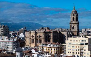 Превью обои город, здания, архитектура, вид сверху, малага, испания