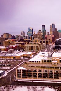 Превью обои город, здания, дорога, вид сверху, зима