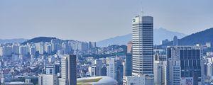 Превью обои город, здания, мегаполис, городской пейзаж, вид сверху