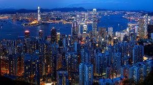 Превью обои город, здания, мегаполис, огни, вид сверху, сумерки