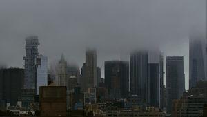 Превью обои город, здания, мегаполис, туман, мгла
