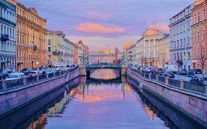 Превью обои город, здания, мост, река, сумерки, санкт-петербург