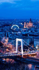 Превью обои город, здания, мост, архитектура, сумерки, вид сверху