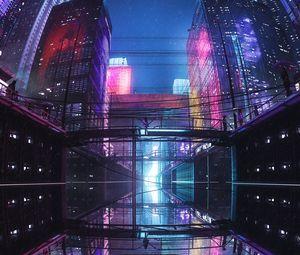 Превью обои город, здания, мост, отражение, фиолетовый, темный