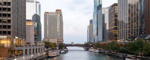 Превью обои город, здания, река, мост, архитектура