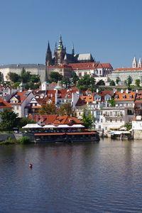 Превью обои город, здания, замок, архитектура, пристань, вода