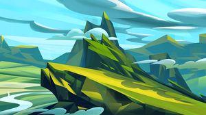 Превью обои горы, арт, облака, пейзаж, зеленый, голубой