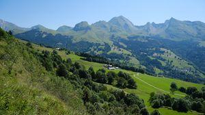 Превью обои горы, деревья, домики, природа