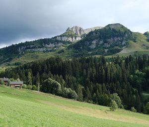 Превью обои горы, деревья, холм, пейзаж, природа