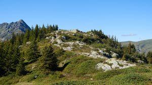 Превью обои горы, деревья, холм, природа, пейзаж