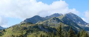 Превью обои горы, деревья, лес, рельеф, пейзаж, природа