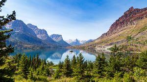 Превью обои горы, деревья, лес, озеро, пейзаж