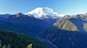 Превью обои горы, деревья, ручей, вид сверху, пейзаж