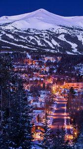 Превью обои горы, домики, огни, снег, зима, вид сверху